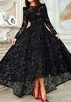 Vintage Asymmetrical Long Sleeve Black Ball Gown High Low Lace Prom/Evening Dress