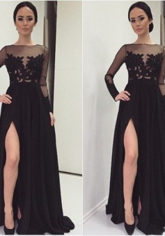 Appliques Sexy Long Sleeves Black Front Split Lace Prom/Evening Dress