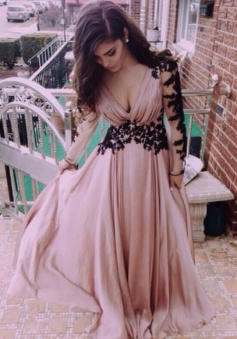 Long Sleeve Deep V Neck Dusty Pink Prom Dress