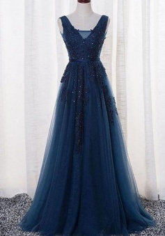 A Line Navy Blue Open Back Lace Prom Dress Formal Evening Dress