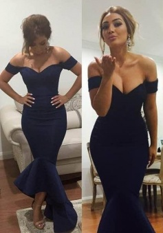 Dark Navy Blue Off-the-Shoulder Ruffles Asymmetrical Mermaid Prom/Evening Dress