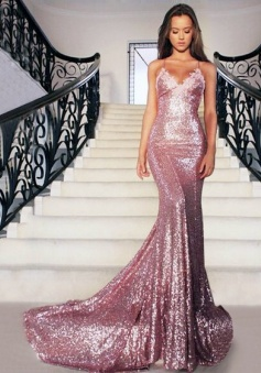 Sexy Spaghetti Straps Sleeveless Open Back Sequins Prom Dresses 2018