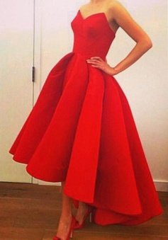 Strapless High Low Sweetheart Red Satin Prom Dress with Ruffles