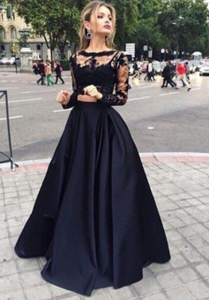 Long sleeves Two Pieces Black Prom/Evening Dress