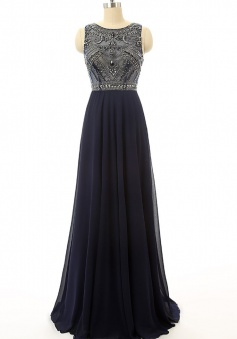 Sexy Navy Blue Beaded Chiffon Long Prom Dress