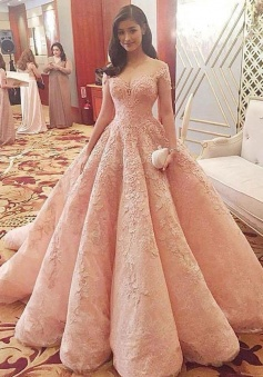 Gorgeous  A-line High Low Pink Lace Prom Dress Formal Evening Dress