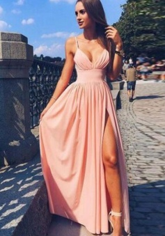 Simple Spaghetti Strap V Neck Pink Prom Dress Long Evening Dress
