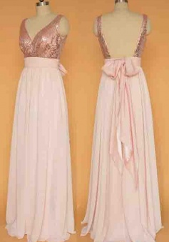 Beauty Rose Gold Chiffon A-line Sequin Bodice Long Prom Dress