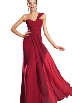 Simple One-Shoulder Criss-Cross Ruched Chiffon Prom Dress Long Evening Gown