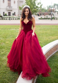 Elegant Burgundy Strapless Tulle Sexy Long Prom Dress