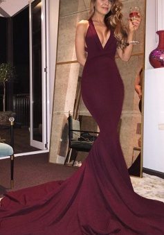 Gorgeous Burgundy Train Mermaid Backless Sexy Prom Dress Long Evening Gown