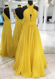 Sexy High Neck Backless Tulle Yellow Prom Dress Formal Evening Dress