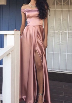Off the shoulder Elegant A-Line Pink Front Slit Sexy Long Prom Dress