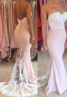 Mermaid Straps Pink Lace Train Long Prom Dress Bridesmaid Dress