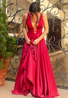 Sexy A-line V-neck Simple Red Long Prom Dress Evening Dress