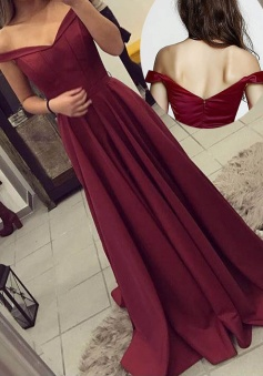 Simple Off the shoulder Sweep Train Satin Burgundy Long Prom/Formal Dress