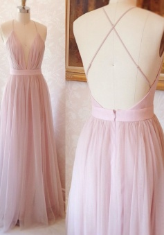 Floor Length A-line V Neck Cross Back Pink Tulle Prom Dress