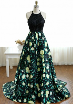Elegant Halter Sweep Train A-Line Beading Black Printed Satin Prom/Evening Dress