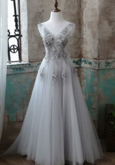 Elegant Appliques V-Neck Sweep Train A-Line Grey Tulle Prom Dress
