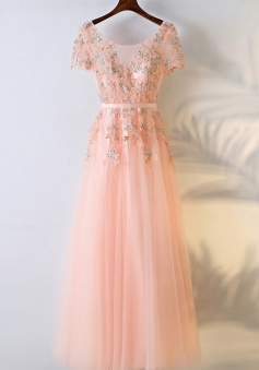 Floor-Length  Appliques A-Line Crew Short Sleeves Chiffon Prom/Bridesmaid Dress