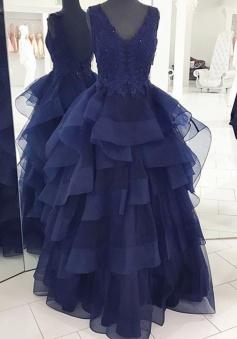 Floor-Length Backless Appliques Beading Navy Blue Organza Evening Dress