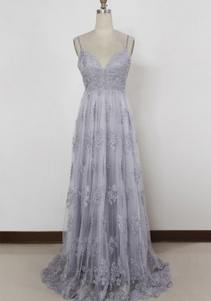 Spaghetti Straps A Line Backless Lavender  Sweep Train Long Prom Dress