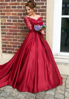 Off-the-Shouler Long Sleeves Buttons Mermaid Sweep Train Burgundy Satin Prom/Evening Dress
