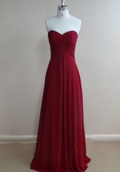 Floor-length A Line Sweetheart Ruched Long Chiffon Bridesmaid/Prom Dress