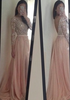 Sexy O-Neck  Appliques Long Sleeves Pink Prom/Evening Dress