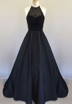 Sexy Halter Floor Length Beading Pleated Stain Black Prom Dress