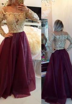Sexy Gold Illusion Lace Beaded Burgundy A-line Long Sleeves Evening Gowns