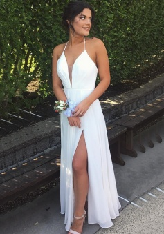 Simple A-line Halter Split White Backless Prom Dress