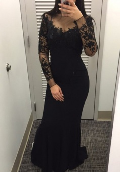 Long Sleeves Sweep Train Black Lace Beading Evening Dress