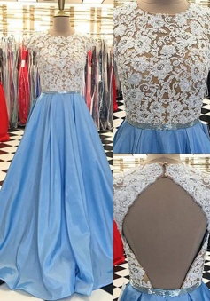 Cap Sleeves Jewel Open Back Sweep Train Lace Beading Blue Evening Dress