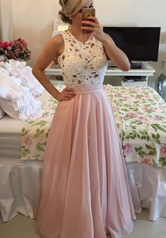 Modern A-line Crew Floor length Chiffon Prom Dress With Lace Pearls