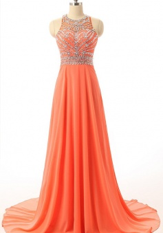 Sexy Orange Halter Court Train Chiffon Beading Backless Evening Dress