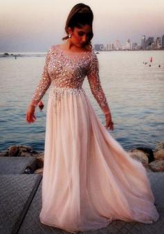 Hot Sale Sexy Illusion A-line Chiffon Long Evening Dress
