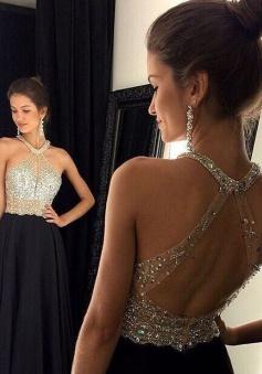 Sexy Open Back A-line Beaded Black Chiffon Evening Dress