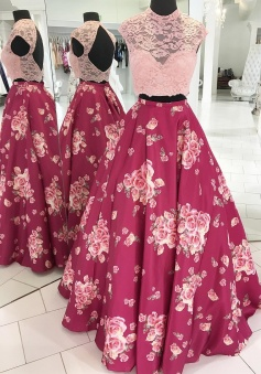Beauty A Line Two Piece Pink Floral Long Evening Dress