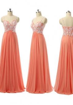 Spaghetti Straps Empire Waist White Lace Burnt Long Orange Bridesmaid Dresses