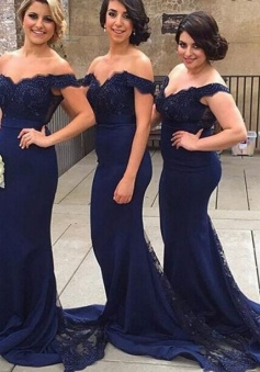Open Back Sleeves Navy Blue Lace Mermaid Bridesmaid Dresses