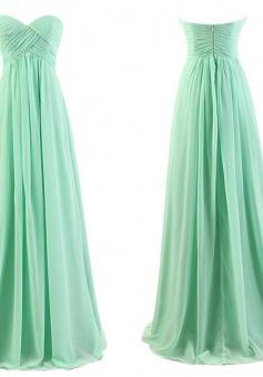 Simple Empire Waist Sage Ruffles Chiffon Long Bridesmaid Dresses