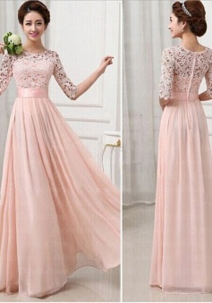 Half Long Sleeves Pink Lace Chiffon Bridesmaid Dress