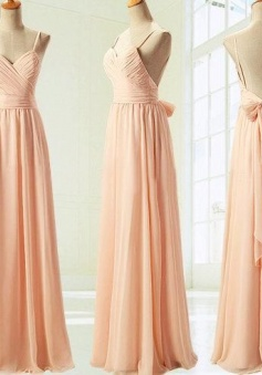 Spaghetti Straps Open Back Peach V Neck Sample Blush Chiffon Long Bridesmaid Dress