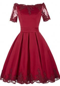 Off Shoulder Scoop Neck Short Satin Homecoming Dresses Short Prom Dresses