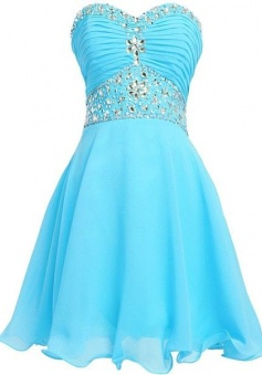 Sexy Stunning Sweetheart Beading Pleats Mini Short Prom/Homecoming Dress