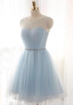 Light Blue Scoop Neck Tulle Short Prom/Homecoming Dresses