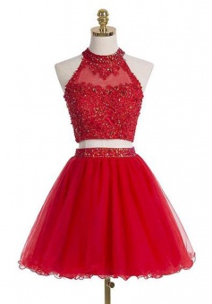Two-Piece Beaded Embellished Halter Neck Cropped Bodice Tulle Red Short Homecoming Dress