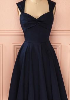 Vintage Navy Blue Knee-length Cute Short Homecoming Dress
