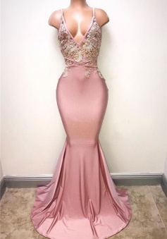 Appliques Mermaid Spaghettis-Strap Sexy Sleeveless Lace Evening Gowns